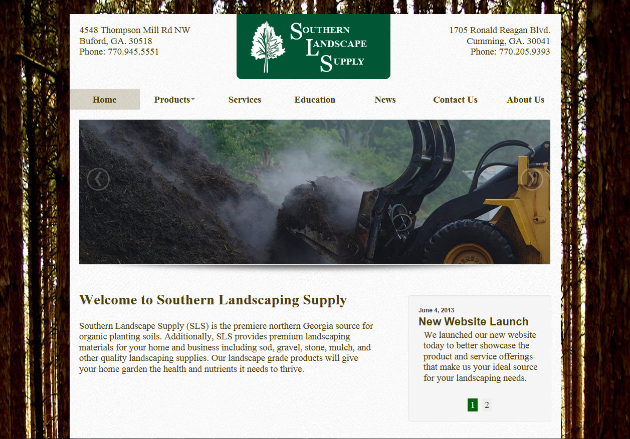 New Southern Landscape Supply Website Home Page