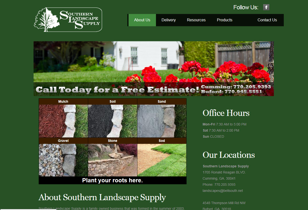 Old Southern Landscape Website Home Page