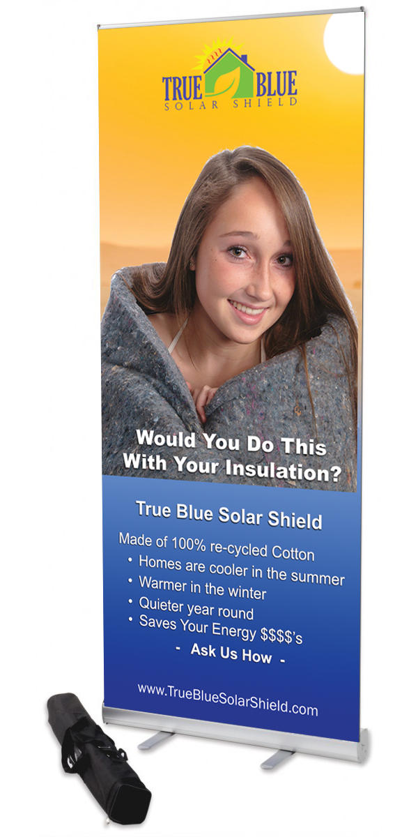 True Blue Solar Shield Roll-up Banner